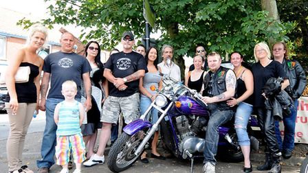 Bikers meeting at Stalham station carpark to convoy to the funeral of biker Stephen Miles.PHOTO: ANT