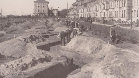 Defences being dug in ww2