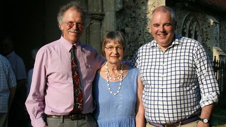 Rev Jess Stubenbord with Toby Howes, chair of Flordon Community Trust, and Richard Bacon
