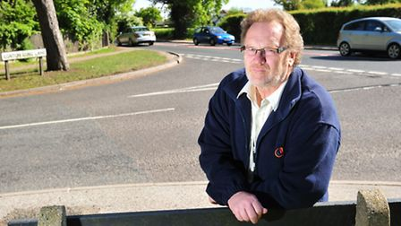 Stephen Pavey at the junction of Corton Long Lane. He is planning a petition against the new spine r