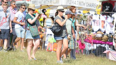 Latitude 2013 at Henham Park in Suffolk. People arriving in the sunshine to set up camp on the first day of the...