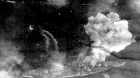An aerial photograph taken by Arthur Towlson of the bombing of Tirpitz