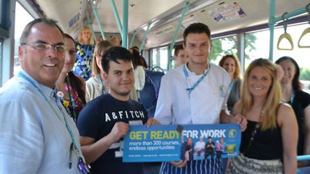 Great Yarmouth College staff celebrate its new campaign featuring apprentices and ex-students. From