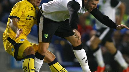 Norwich City's new signing Gary Hooper - pictured playing against Brighton - opened his account for