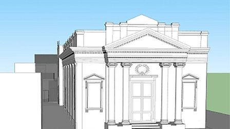 Diss Corn Hall conceptual design showing new entrance at rear of courtyard.