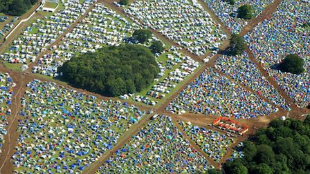 An aerial view of the 2012 Latitude Festival at Henham Park by Mike Page