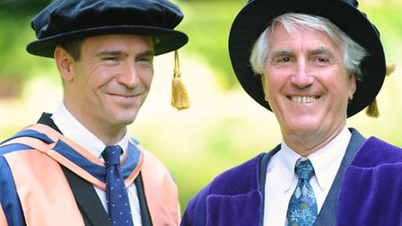 Actor Jack Davenport at the UEA to receive an honorary degree. Jack, left, with Professor Chris Bigs