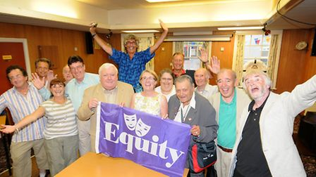 Local Equity showbiz union members gather for their summer meeting in Cromer. Holding the flag, left