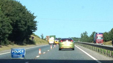 Lorry broken down near the Trowse junction of the A47.