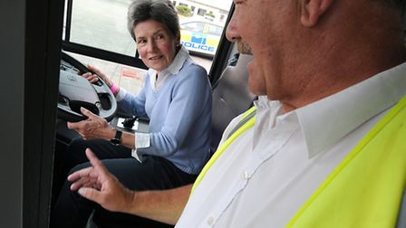 Norfolk Driving Challenge at RAF Coltishall. Penny Clarke from Norwich takes instructuction for driv