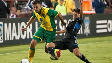 Norwich City midfielder Robert Snodgrass in pre-season action against San Jose Earthquakes at the weekend. he is among a...