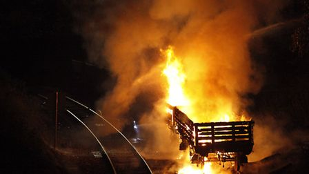 Two wagons belonging to the mid-Norfolk Railway which went up in flames on Thursday night.Photo: Mik