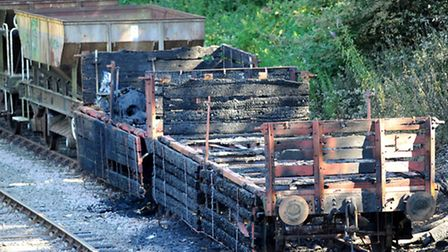 The burnt out historic wagons belonging to the Mid-Norfolk Railway at Wymondham. Picture: Denise Bra