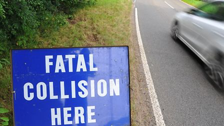 Signs at the scene of the motorbike fatality on the B1108 between Watton and Mundford. Photo: Steve