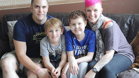 Deryn Blackwell at his home in Watton with his family, father Simon, brother Dylan (8) and his mothe