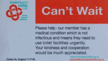 The 'Can't Wait' card which can be carried by Crohn's Disease sufferers. Picture: Denise Bradley