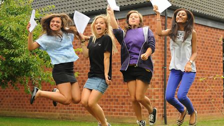 Students celebrate their GCSE results at Hethersett High School. From left, the 16-year-olds are, Ma