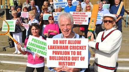 Terry Dunning chairman of Lakenham Cricket Ground residents' association with fellow objectors to th