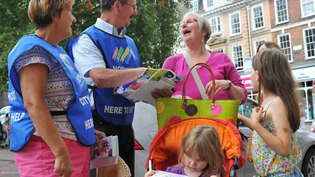 City Hosts Elaine Shields and Adrian O'Dell working in Norwich city centre.Photo: Bill Smith