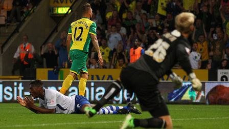 Anthony Pilkington scores Norwich City's second in their 6-3 win over Bury. Picture: Paul Chesterton