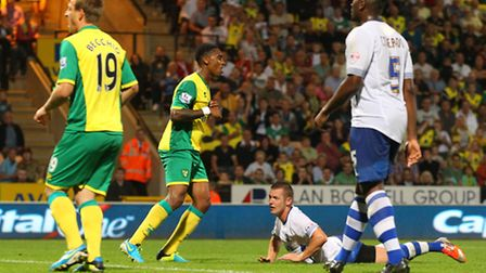 Leroy Fer scores his first goal for the club in Norwich City's 6-3 Capital One Cup win over Bury - h