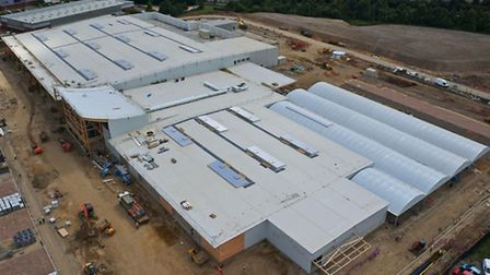 An aerial view of the new Tesco site, showing the scale of the store.