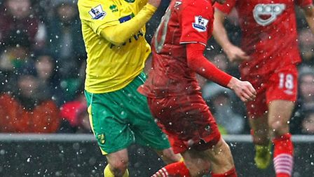Wes Hoolahan and Adam Lallana battle for the ball during Southampton's visit to Norwich City last se