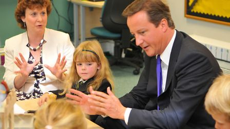 Prime Minister David Cameron at The Free School Norwich. Pictured with Principal Tania Sidney-Robert