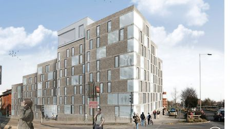 An artist's impression of the proposed All Saints development in Norwich, which would house almost 2