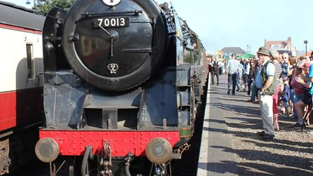 One of the classic engines on the tracks at Sheringham station as part of the North Norfolk Railway'