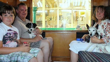 Steam train enthusiasts Tony and Nicky walker with son Alfie, 10, and their two Jack Russel terriers