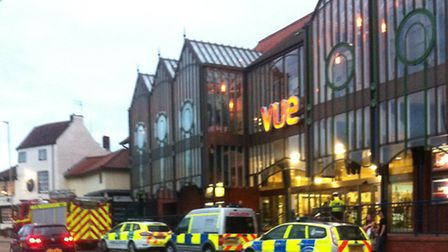 Emergency services outside Norwich's Castle Mall on May 9.