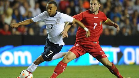 Norwich City summer recruit Nathan Redmond in action for England Under-21s against Moldova on Thursd