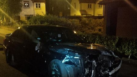 Police are investigating after a black BMW collided with railings in Commercial Road, Dereham, on Su