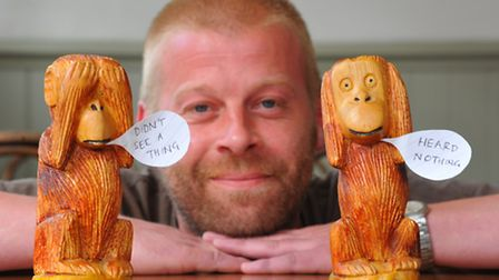 Nick Hubbard who is appealing for the safe return of his namesake wooden monkey, that was taken from