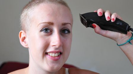 Michaela Brighton who has shaved her hair off in memory of her uncle Barry Wilson who died from Neur