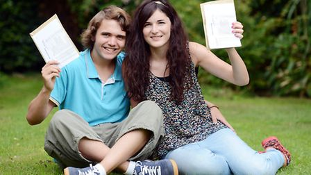 Students from Dereham Sixth Form Centre with their results. boyfriend and girlfriend Shaun Mendham a