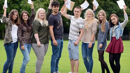 Students from King Edward VII High School get their A-Level results. From left, Victoria Ribina, Ana