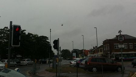 The East Anglian Air Ambulance takes off after attending a collision in Caister Road, Great Yarmouth