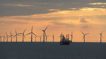 Sheringham Shoal Offshore Wind Farm.Photo at Sheringham Shoal taken by CHPV and supplied by Scira Of