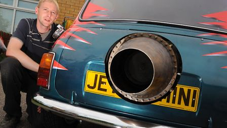 Andrew Pleszko with his jet engined Mini which will debut at Santa Pod at the weekend.Photo: Sonya D
