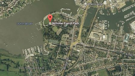 Googlemap view of Nicholas Everitt Park where a man has been arrested following reports a crossbow as brandished in Oulton...
