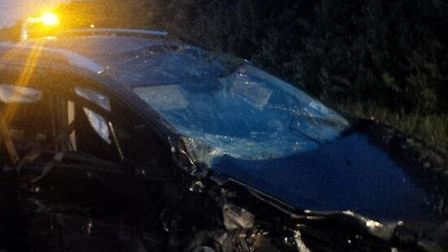 The car involved in yesterday's crash in Sculthorpe. Police image