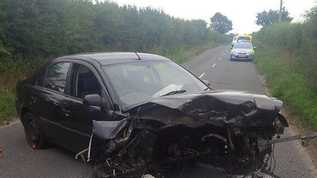 A picture taken by a police officer following the crash at Sculthorpe