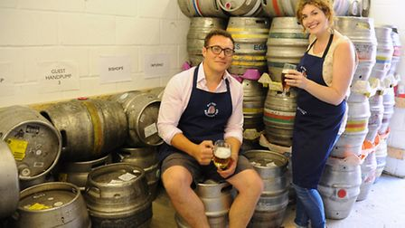 Mark and Laura White at the Fat Cat Brewery Tap, ready for their Tapfest beer festival with beers fr