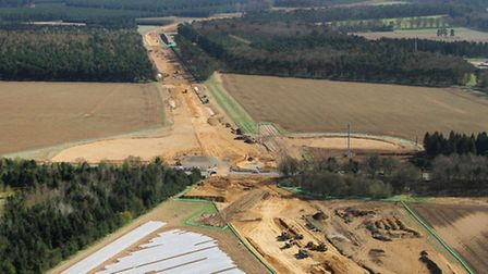 Aerial shot of the dual carriageway on the A11 at Elveden being built in April 2013. Photo: Mike Pag