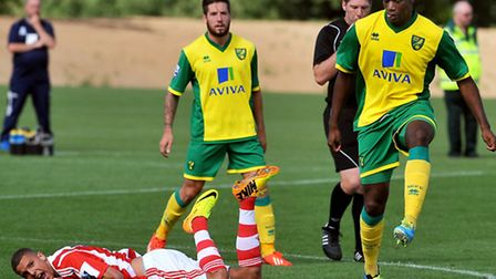 Norwich City's new team captain Sebastien Bassong played the first 60 minutes of pre-season in Monda