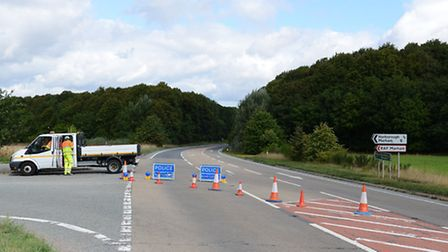 The A47 has been closed west bound at the junction for Narborough and RAF Marham. Picture: Ian Burt