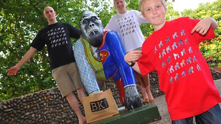 Jack Mackenzie modelling one of the Gorilla t-shirts with Ben and Kate Lee of BkFrank. Photo: Steve