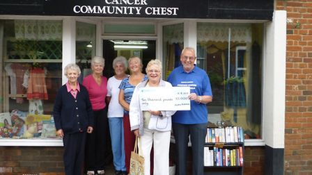 Chairman Noel Warner receives the giant cheque from (left to right) Ruth Wood, Jo Wightman, Joy Kirk